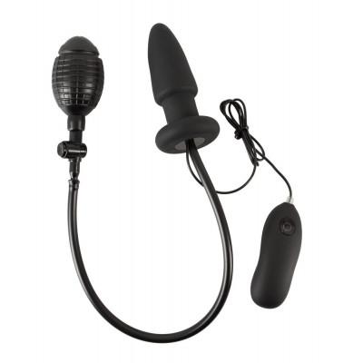 Черная надувная анальная пробка Inflatable Vibrating Butt Plug - 12,2 см.