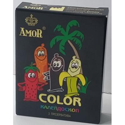 """Цветные ароматизированные презервативы AMOR Color """"Яркая линия"""" - 3 шт."""
